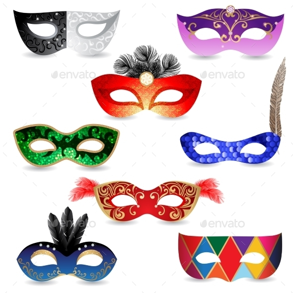 GraphicRiver Bright Carnival Masks Icons 8819869