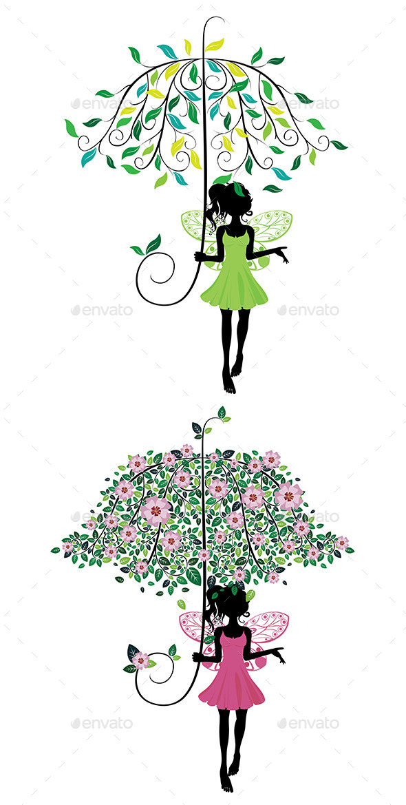 GraphicRiver Fairy with Floral Umbrella 8821804