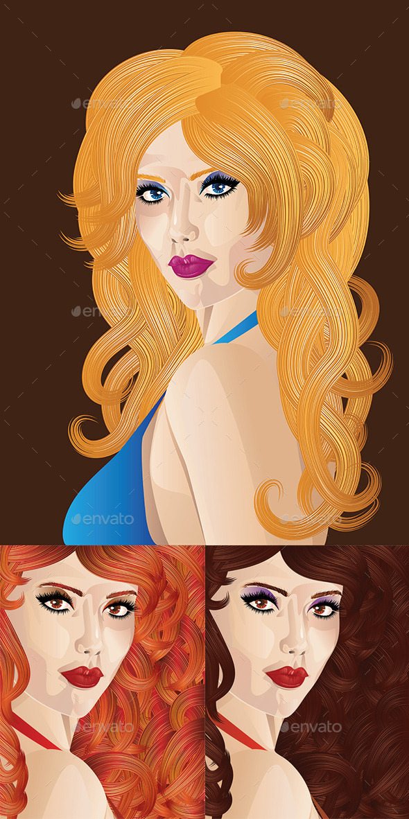 GraphicRiver Girl with Curly Hair 8821822