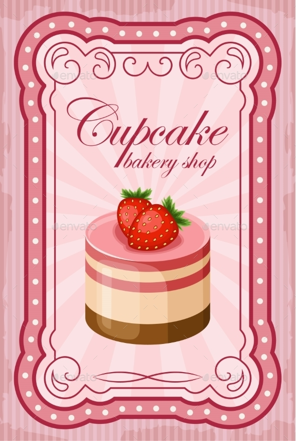 GraphicRiver Vintage Cupcake Poster Vector Illustration 8821899