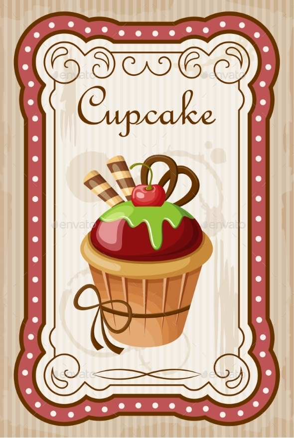 GraphicRiver Vintage Cupcake Poster 8821900