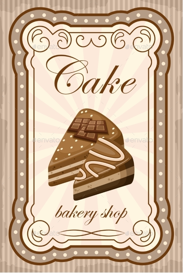 GraphicRiver Vintage Cake Poster Vector Illustration 8821914