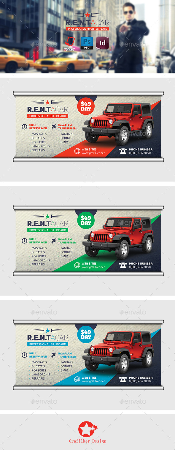 GraphicRiver Rent A Car Billboard Templates 8822582
