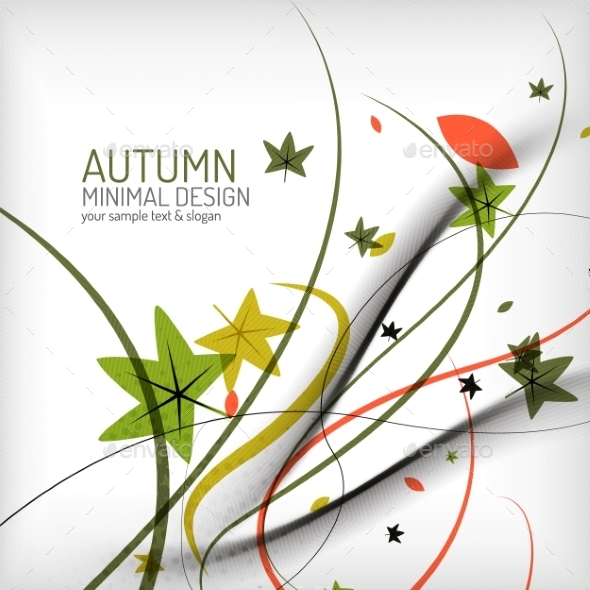 GraphicRiver Autumn Floral Wave on White Background 8822686