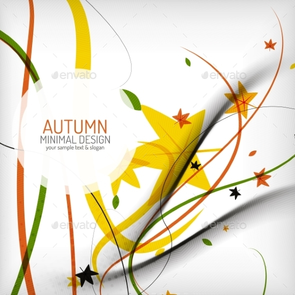 GraphicRiver Autumn Floral Wave on White Background 8822699