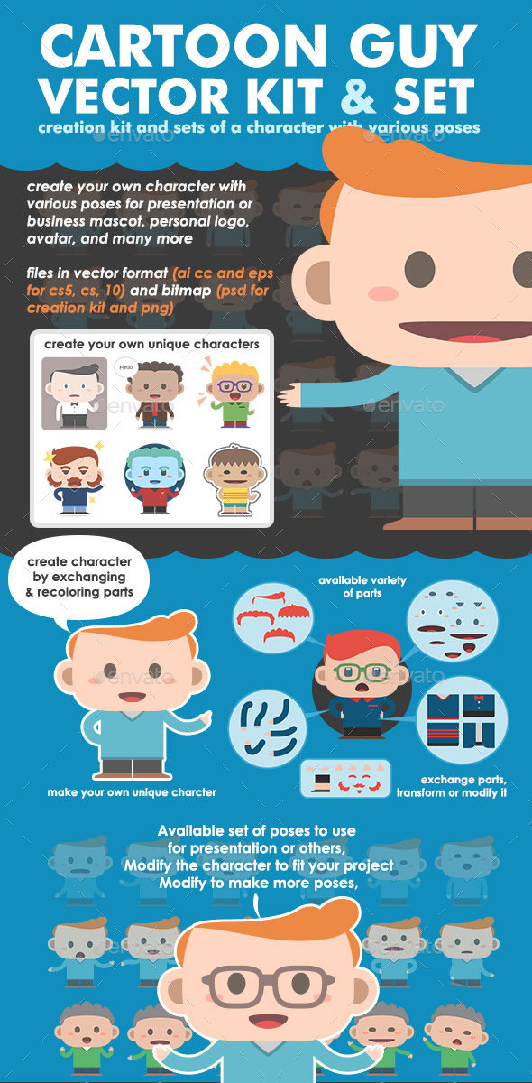 GraphicRiver Cartoon Guy Vector Kit and Set 8822785