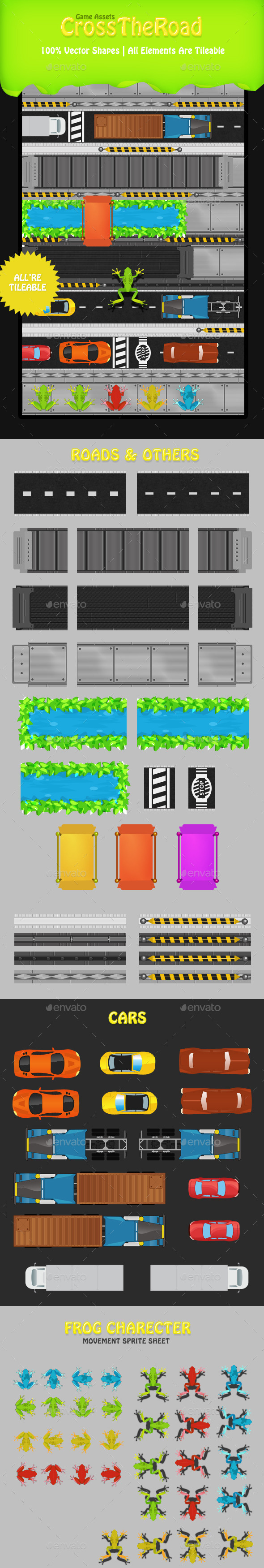 GraphicRiver Cross The Road Frog Game Tileset & Sprite Sheet 8822790