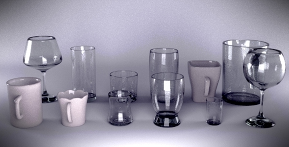 realistic cups pack - 3DOcean Item for Sale