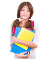 Cute schoolgirl with colorful books - PhotoDune Item for Sale