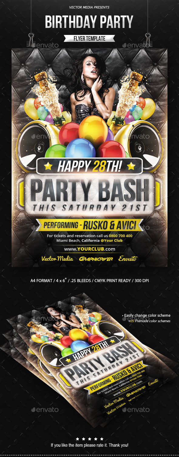 GraphicRiver Birthday Party Flyer 8823350