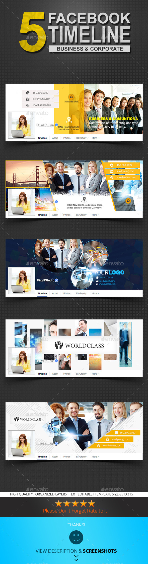 GraphicRiver Corporate Facebook Timeline Covers Template 8823400