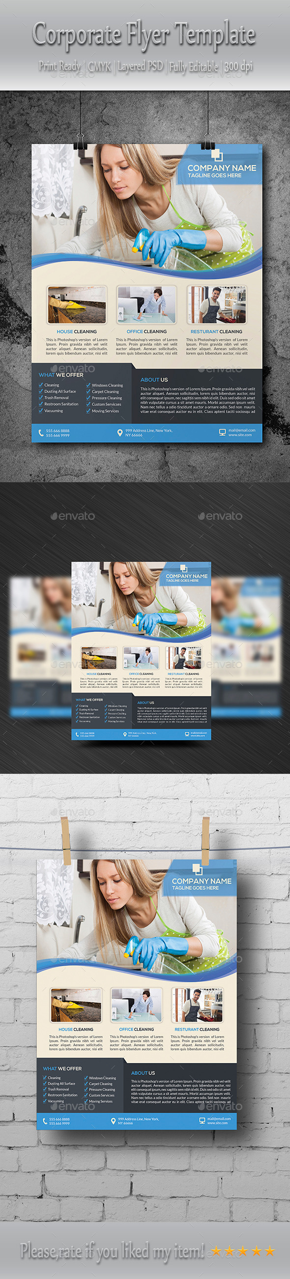 GraphicRiver Cleaning Services Flyer Template 8824099
