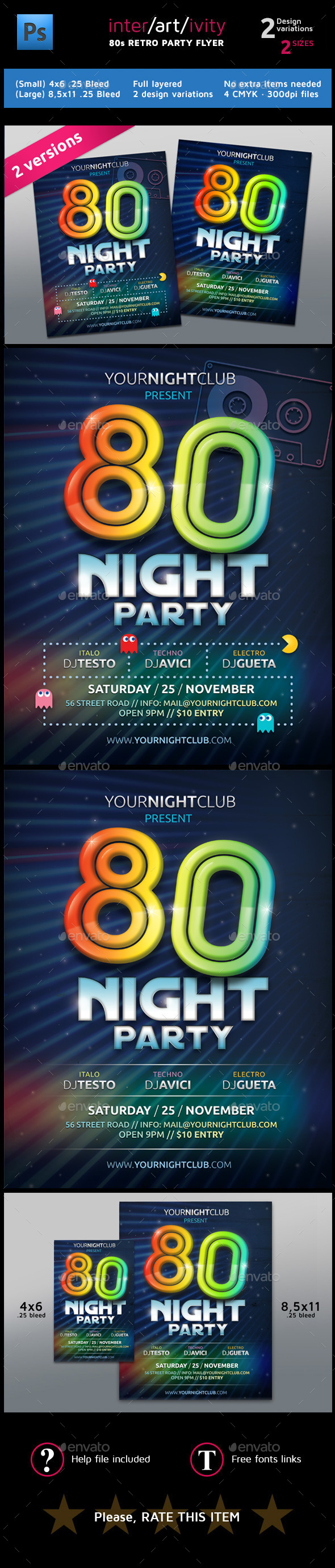 GraphicRiver Eighties Party Night Club Flyer Template 8819095