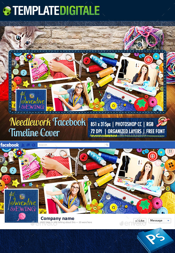 GraphicRiver Sewing & Stitching Facebook Cover 8824441