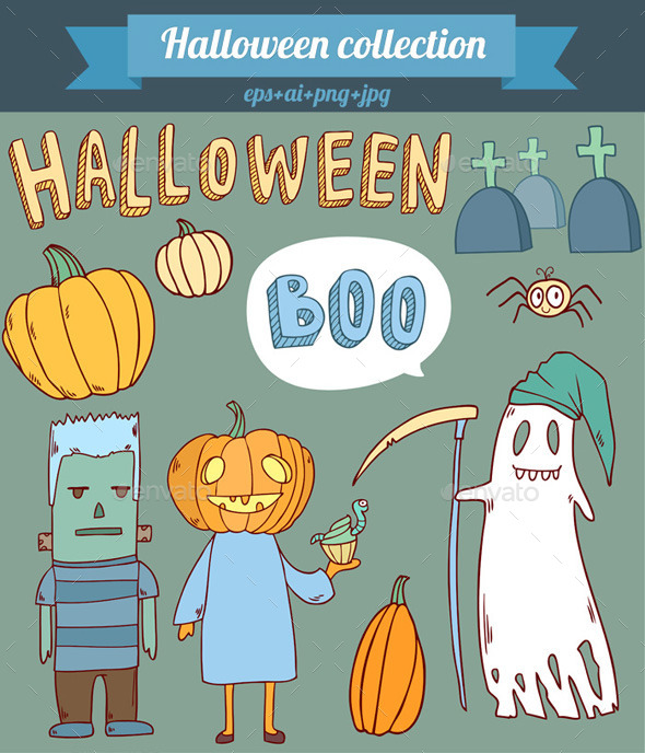 GraphicRiver Halloween Icons Collection 8824748