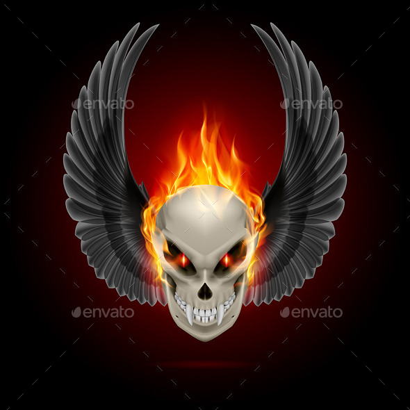 GraphicRiver Flaming Mutant Skull 8824874