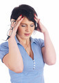 Portrait of young beautiful woman having headache pains - PhotoDune Item for Sale