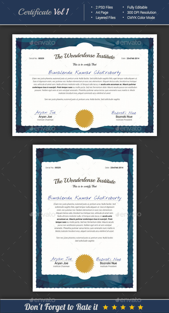 GraphicRiver Certificate Template 8825485