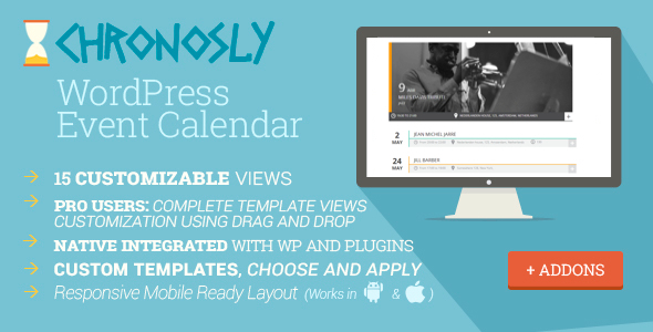 Born from the need to suit all users, designers, software developers and basic users, Chronosly is a WordPress full editable event calendar plugin. Chronosly ha