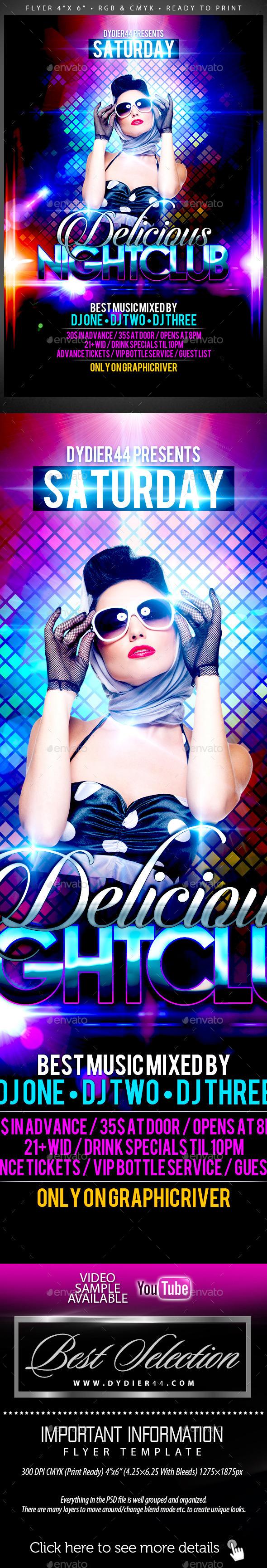 GraphicRiver Delicious Nightclub Flyer Template 4x6 8825772