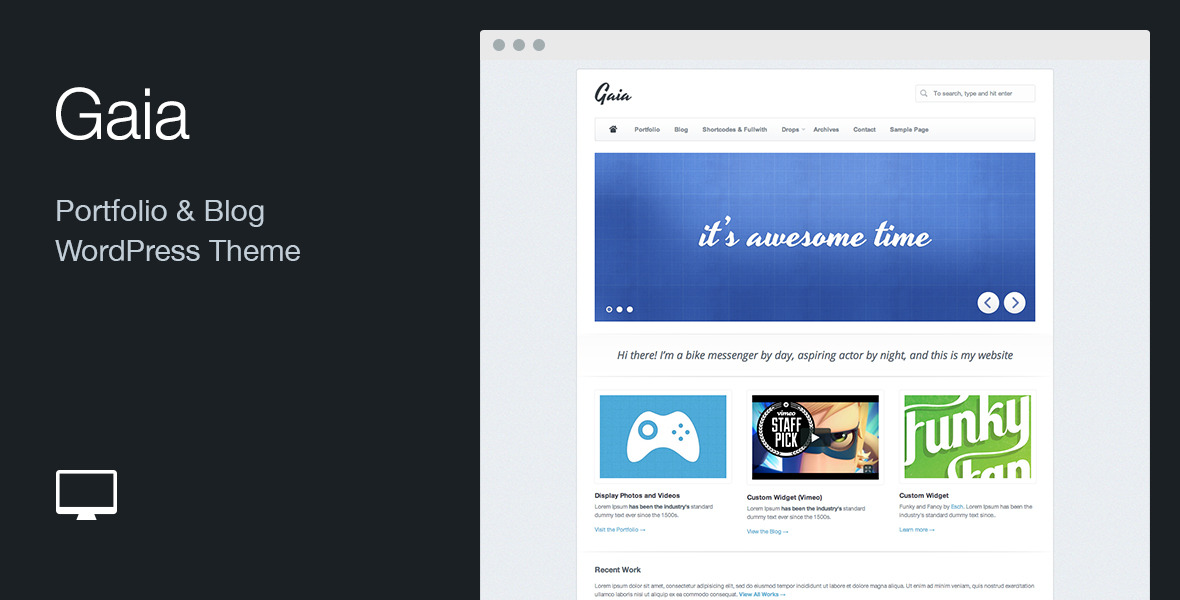 Gaia: Portfolio & Blog WordPress Theme