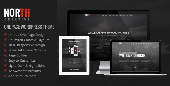 ThemeForest North One Page Parallax WordPress Theme 8454561