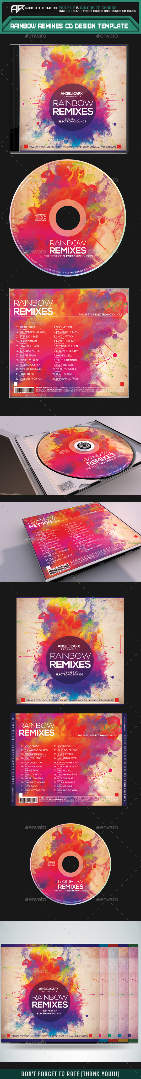GraphicRiver Rainbow Remixes CD Design Template 8826181
