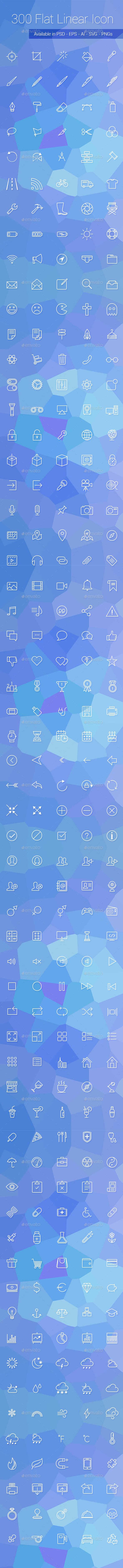GraphicRiver 300 Flat Linear Icon Set 8826790