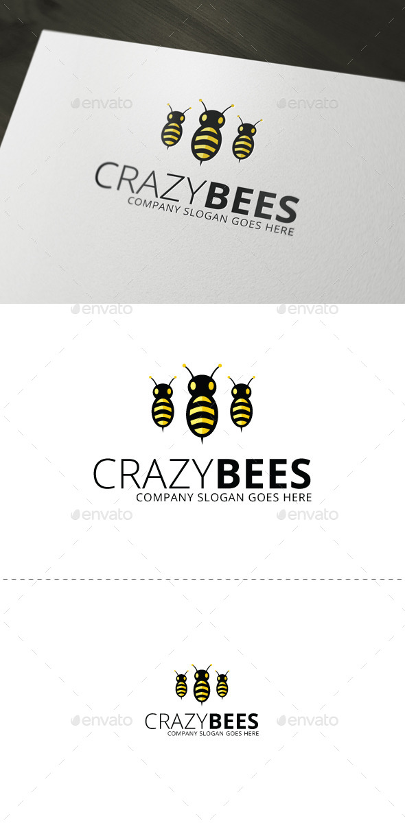 GraphicRiver CrazyBees Logo Template 8827126