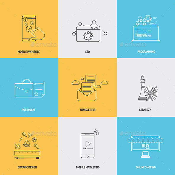 GraphicRiver Set of Flat Line Icons 8827375