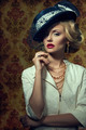 Young woman with vintage style in jewelry - PhotoDune Item for Sale