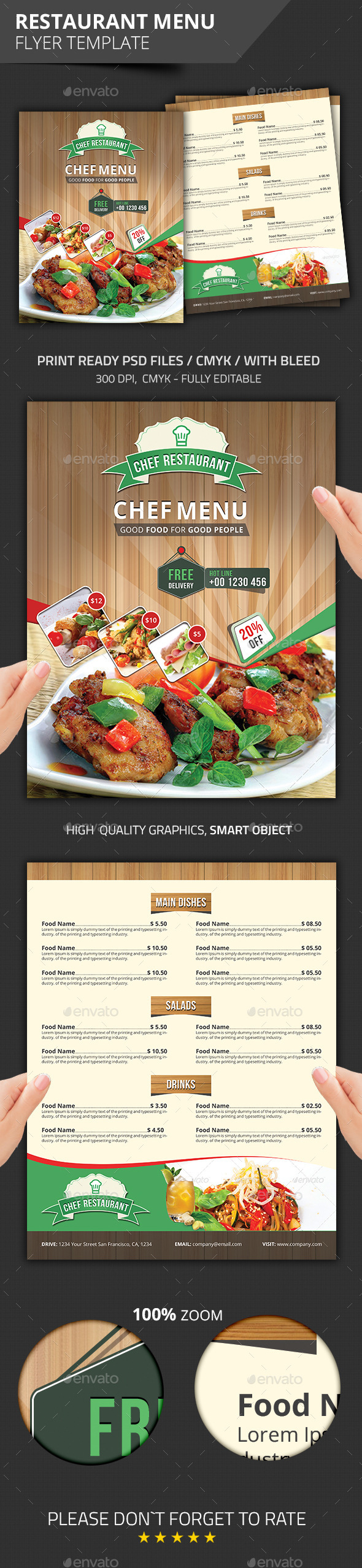 GraphicRiver Restaurant Menu Flyer Template 8828558