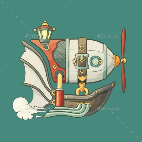 GraphicRiver Cartoon Steampunk Flying Airship with Baloon 8828622