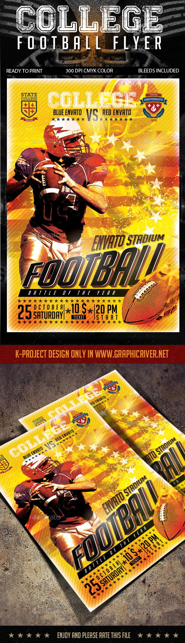 GraphicRiver College Football Flyer 8830118