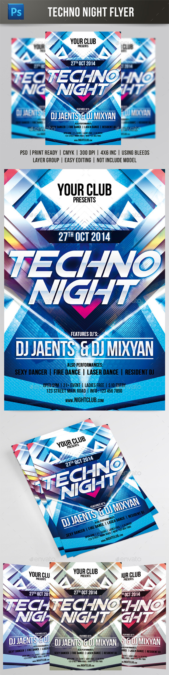 GraphicRiver Techno Night Flyer 8830297