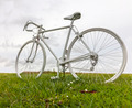 Old White Bicycle in a Field - PhotoDune Item for Sale