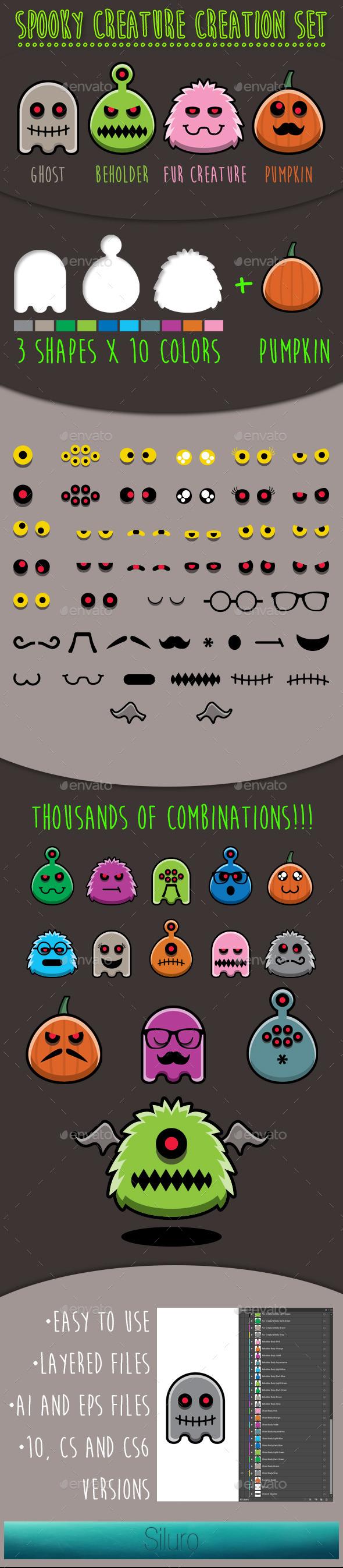 GraphicRiver Spooky Creature Creation Set 8830563