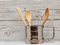 wooden kitchenware in metal mug on old table - PhotoDune Item for Sale