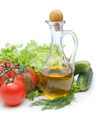 Set vegetable and jug of vegetable oil isolated on the white bac - PhotoDune Item for Sale