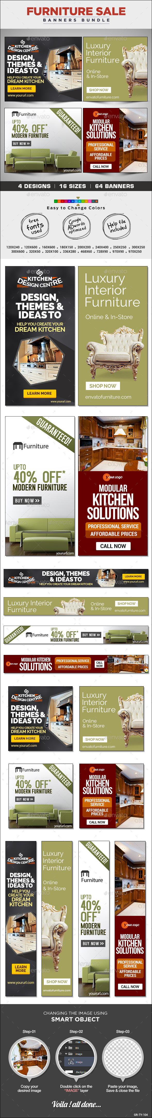 GraphicRiver Furniture Store Banners Bundle 4 Sets 8830735