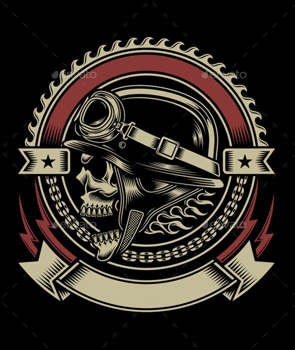 GraphicRiver Vintage Biker Skull Emblem 8830761