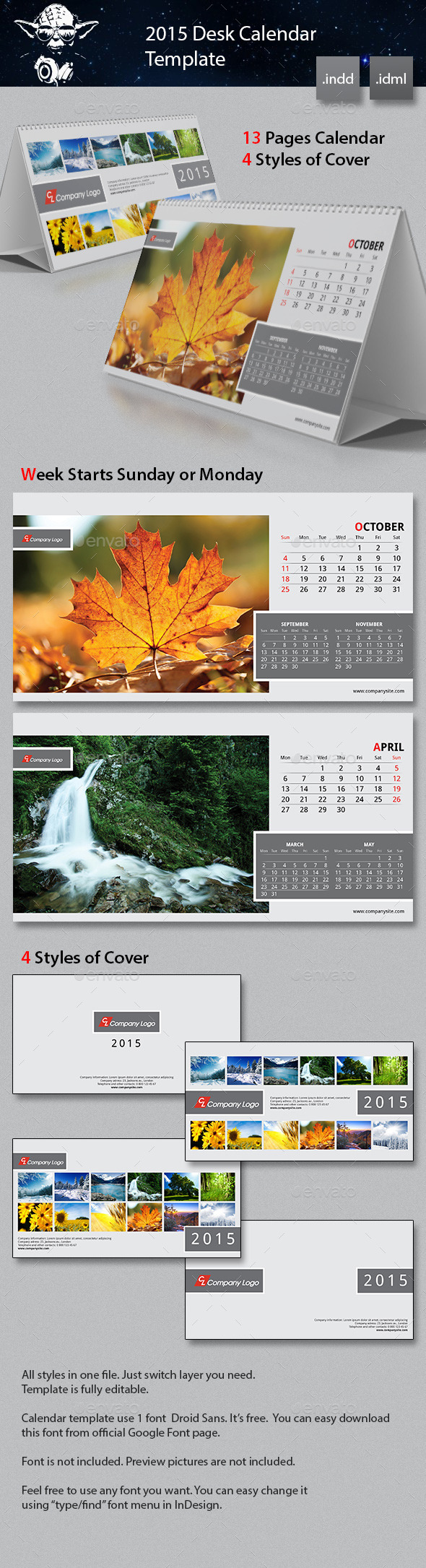 GraphicRiver 2015 Desk Calendar Template 8794682