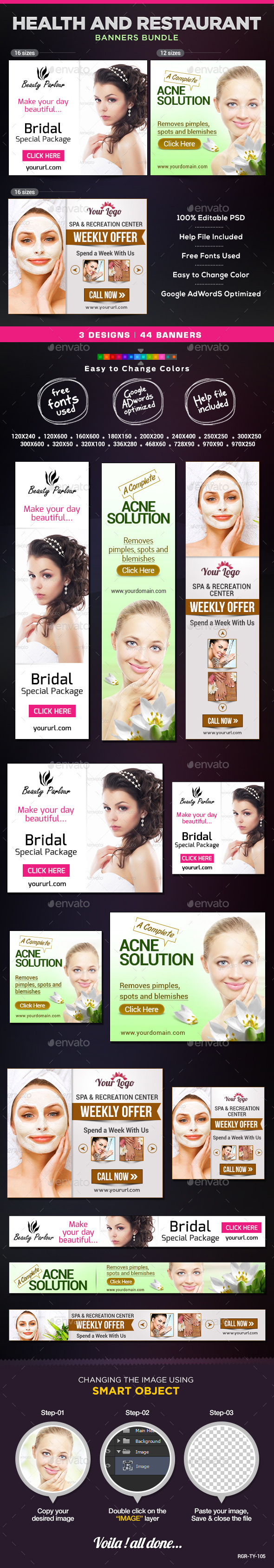 GraphicRiver Health and Beauty Banner Bundle 3 Sets 8830789