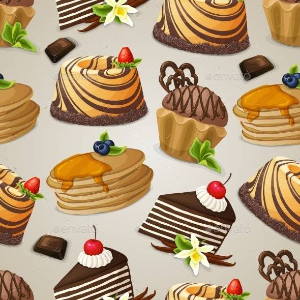 GraphicRiver Sweets Dessert Seamless Pattern 8831223
