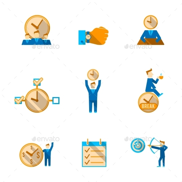 GraphicRiver Time Management Icons Set 8831226