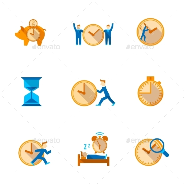 GraphicRiver Time Management Icons Set 8831228