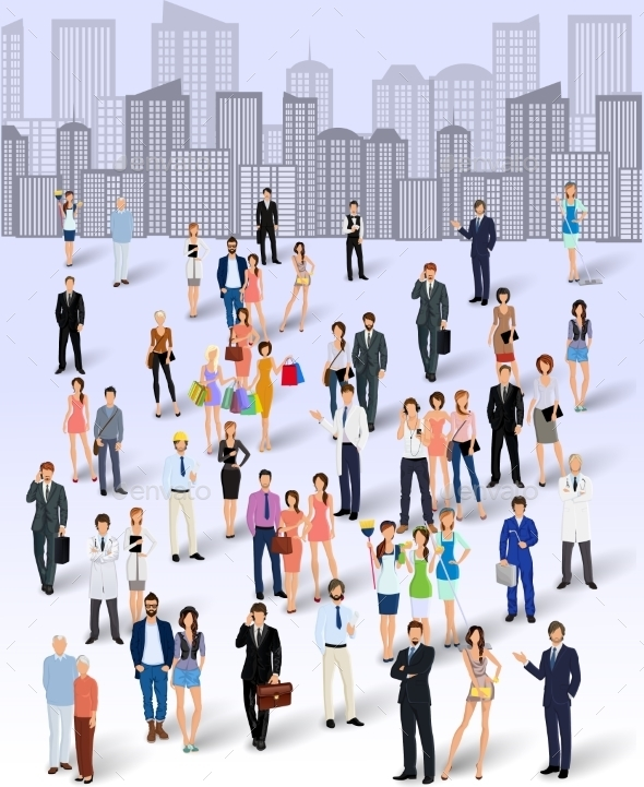 GraphicRiver Group of People in the City 8831253
