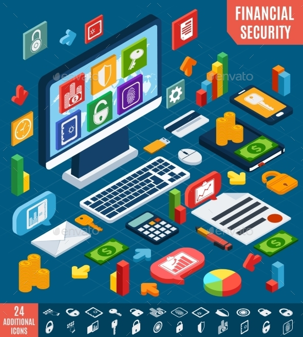 GraphicRiver Isometric Financial Security Set 8831258