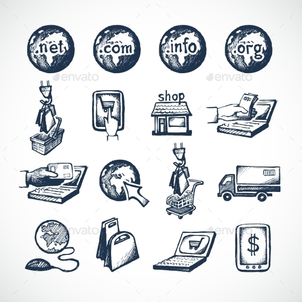 GraphicRiver Online Shopping Icons Set 8831283