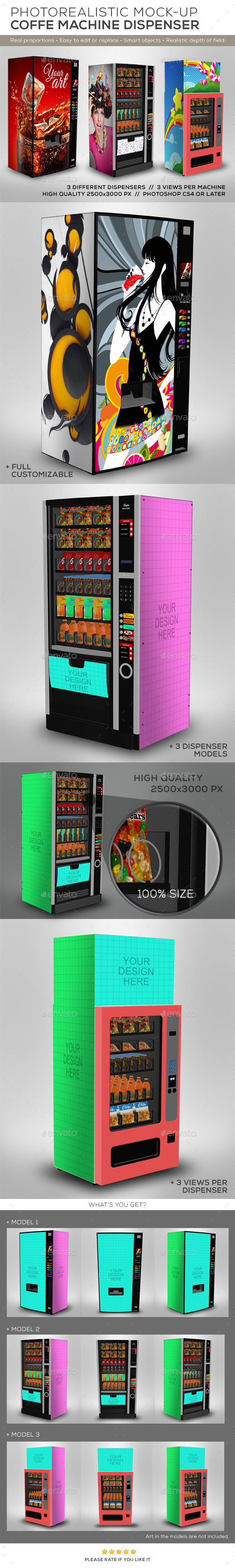 3 Dispenser Machines Mock-ups